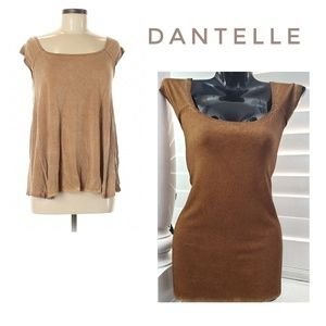 DANTELLE Brown Distressed Baby Doll Top Blouse